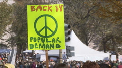 Peace sign at Jon Stewart's Rally to Restore Sanity  Stock Footage