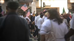 Sidelines in Slow Motion - Immigration march and rally - stock footage