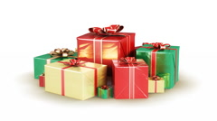 Holiday gift boxes. With Alpha Matte. Loopable Stock Footage