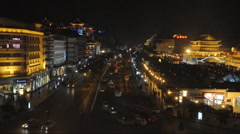 Night street of chinese city, Xi'an Stock Footage