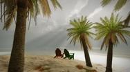 (1238) Tropical Mexican Palms Ocean Storm Beach Chairs Romantic Fantasy Lagoo Stock Footage
