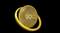 Clock gold and alpha channel - stock footage