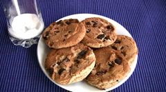 Stock Video Footage of Yummy Chocolate chip cookies  Full HD 1080p