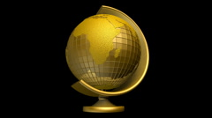 Gold globe of the earth  - stock footage
