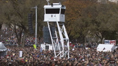 Stock Video Footage of National Park Police watching Jon Stewart's Rally to Restore Sanity