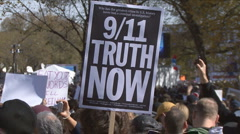 9/11 sign at Jon Stewart's Rally to Restore Sanity  - stock footage