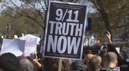 9/11 sign at Jon Stewart's Rally to Restore Sanity  Stock Footage