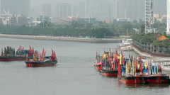 Boat Parade in Pearl River - 002 Stock Footage