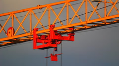 HD Extreme close-up of tower crane hoisting mechanism Stock Footage