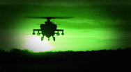 Stock Video Footage of Night Vision of an Apache AH-64 Gunship Helicopter