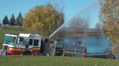 Fire Fighter Truck Testing Water Canon At An Ottawa Lake Canada Stock Footage