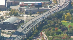 Aerial, slow traffic on the Gardiner expressway, #2 Stock Footage
