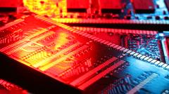Computer memory printed circuit board modules Stock Footage