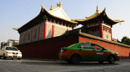 Transport past Temple, xi'an, China Stock Footage