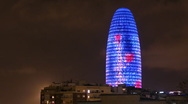 Torres agbar barcelona skyscraper architecture building city iconic landmark Stock Footage