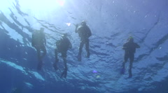 Underwater view of scuba divers at the surface Stock Footage