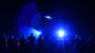 Laser show artwork on big screen abstracts - 1 - flying saucer Stock Footage