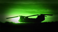 Night Vision of a Chinook Helicopter Liftoff Stock Footage
