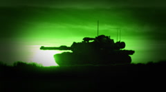 M1 Abrams Tank in Night Vision Stock Footage