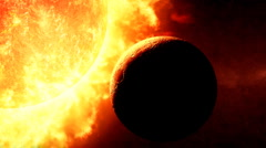 Sun and planet Stock Footage