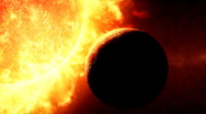 Stock Video Footage of Sun and planet