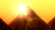 Pyramide and sun Stock Footage