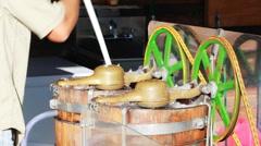 Old fashion Ice cream maker machine Stock Footage