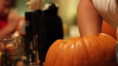 Children Decorating - Carving pumkins Stock Footage