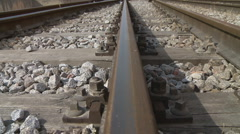 Railway railroad tracks dolly shot Stock Footage