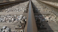 Stock Video Footage of Railway railroad tracks dolly shot
