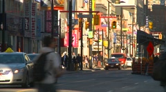 Yonge Street, by day zoom, morning Stock Footage