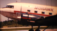 Mohawk Airlines DC3 takes off circa 1954 Stock Footage