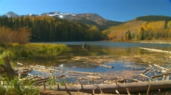 Dolly Move - Colorado lake and Mountains in Fall - stock footage