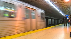 Subway two trains arriving, nice clip, Toronto Stock Footage
