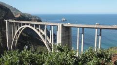 Bixby Creek Bridge traffic Stock Footage