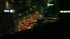 Shiodome road by night Stock Footage