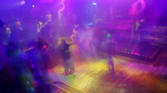Nightclub dance club disco crowd music party entertainment Stock Footage
