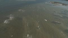 Aerial Kite Surfers Causway Stock Footage