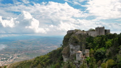 Clouds above Erice, old castle on the hill. Stock Footage