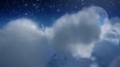 Cloud fly through with moon. Stock Footage