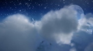 Stock Video Footage of Cloud fly through with moon.