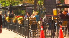 Toronto St Lawrence market cafe, warm autumn afternoon Stock Footage