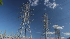 Power Lines - Blue Sky Stock Footage