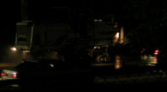 Stock Video Footage of HD Asphalt Shredder Tractor Working at Night