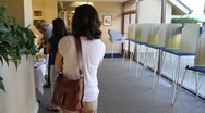 People in Line to Vote Stock Footage