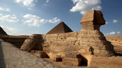 Sphinx and Great Pyramid in Egypt Stock Footage