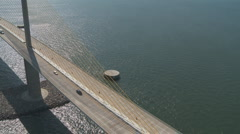Aerial Sunshine Skyway Close Vertical Stock Footage