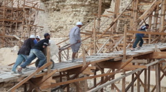 Stock Video Footage of Renovation Work at Step Pyramid in Egypt