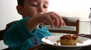 Stock Video Footage of Hungry Little Boy   Full HD 1080p