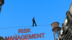 Risk management tight rope Stock Footage